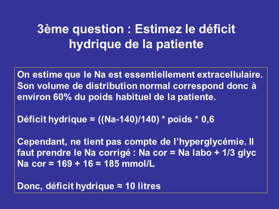 3ème question : Estimez le déficit hydrique de la patiente