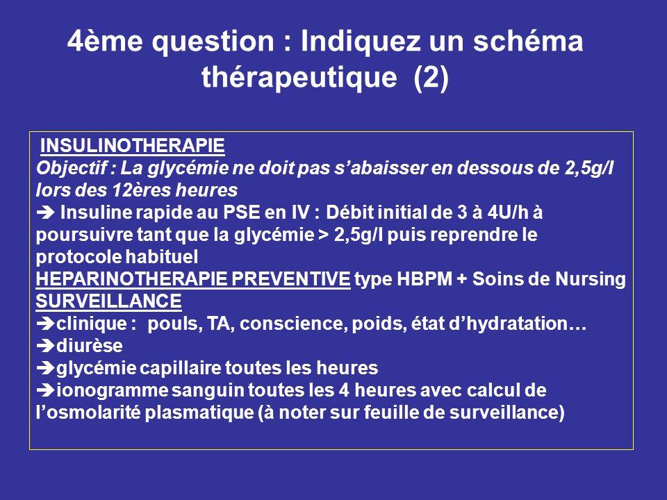 4ème question : Indiquez un schéma thérapeutique (2)