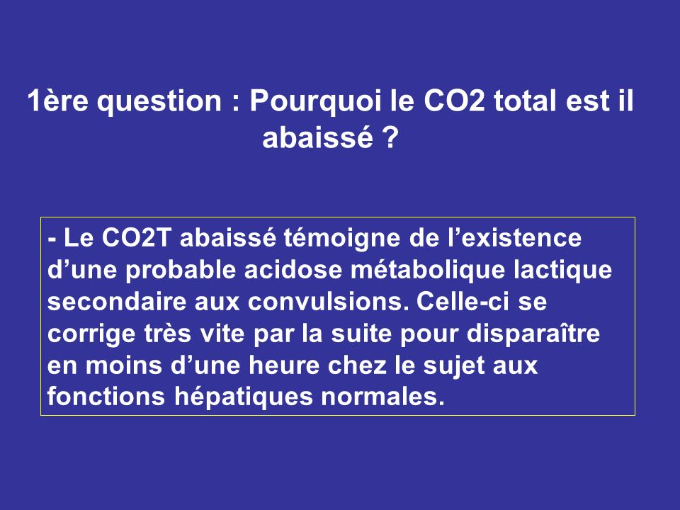1ère question : Pourquoi le CO2 total est il abaissé