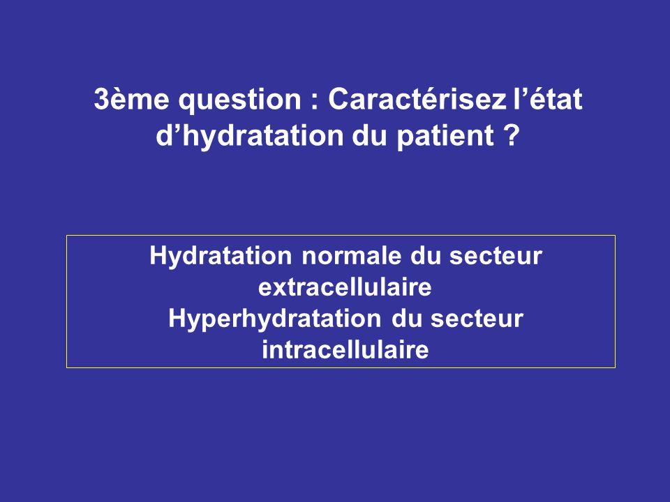 3ème question : Caractérisez l'état d'hydratation du patient
