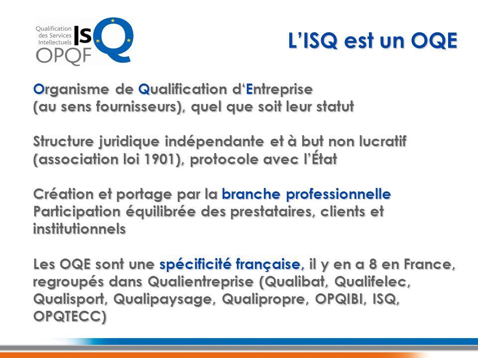 L'ISQ est un OQE Organisme de Qualification d'Entreprise (au sens fournisseurs), quel que soit leur statut.