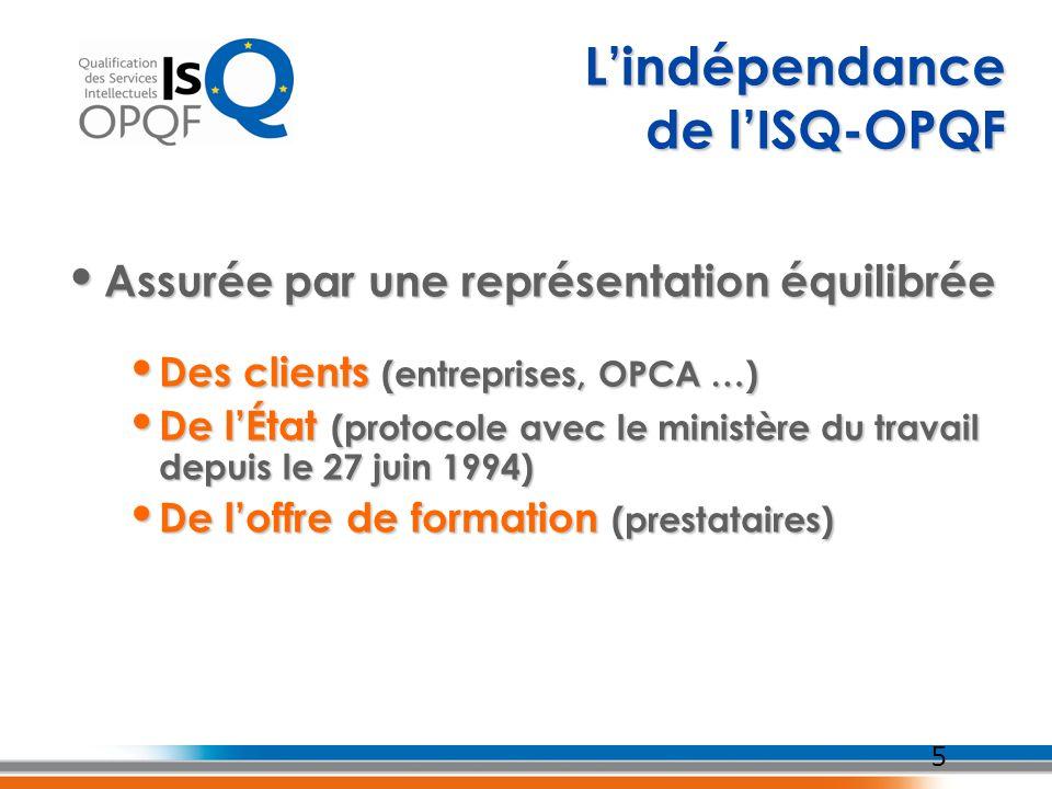 L'indépendance de l'ISQ-OPQF Assurée par une représentation équilibrée