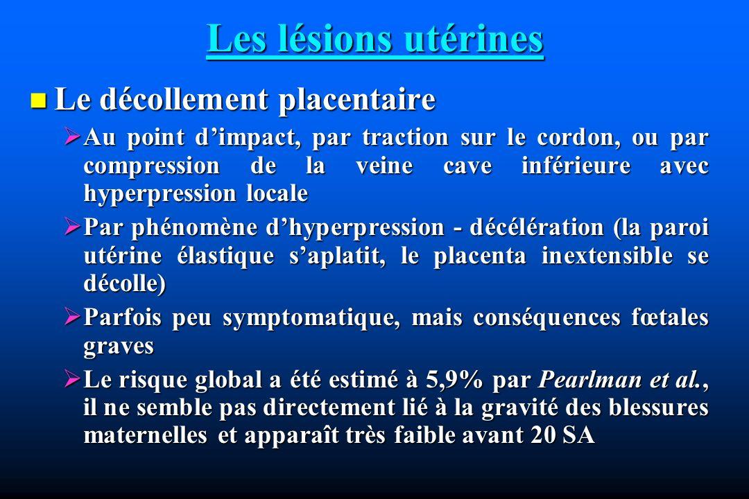Les lésions utérines Le décollement placentaire
