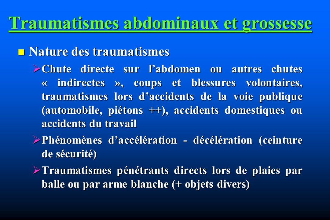 Traumatismes abdominaux et grossesse