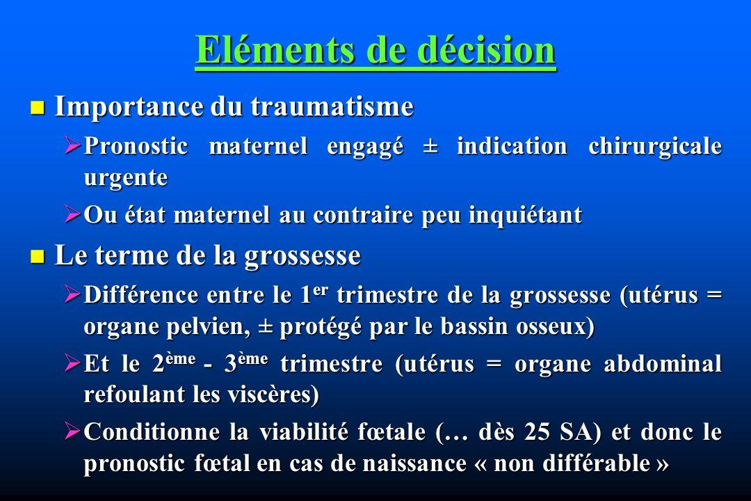 Eléments de décision Importance du traumatisme