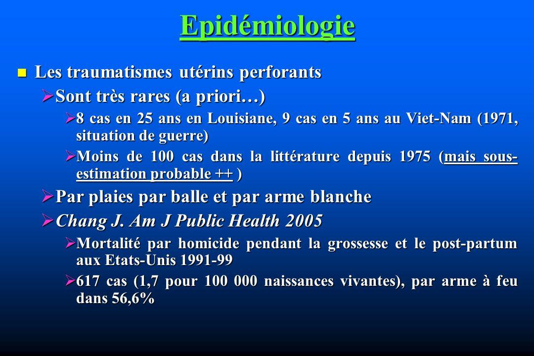 Epidémiologie Les traumatismes utérins perforants