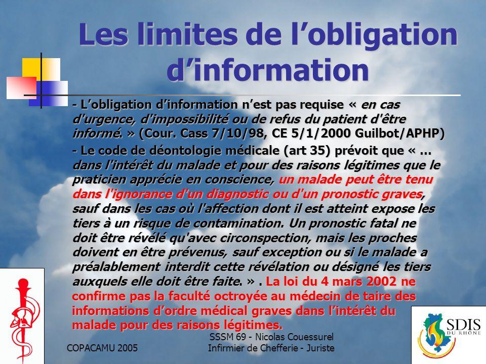 Les limites de l'obligation d'information
