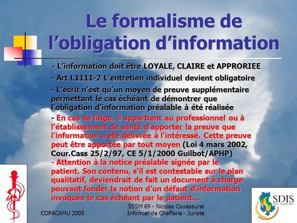 Le formalisme de l'obligation d'information