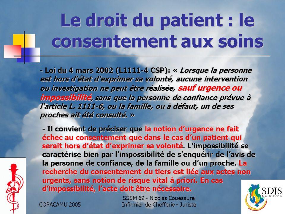 Le droit du patient : le consentement aux soins