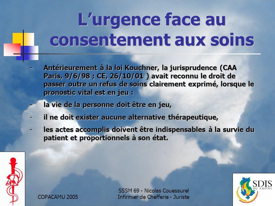 L'urgence face au consentement aux soins