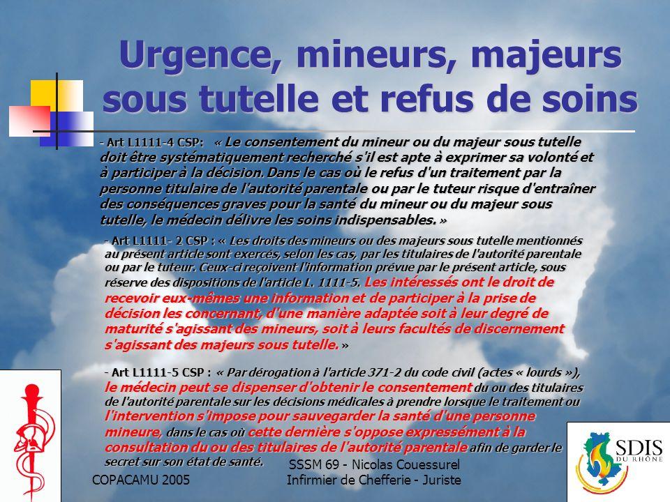 Urgence, mineurs, majeurs sous tutelle et refus de soins