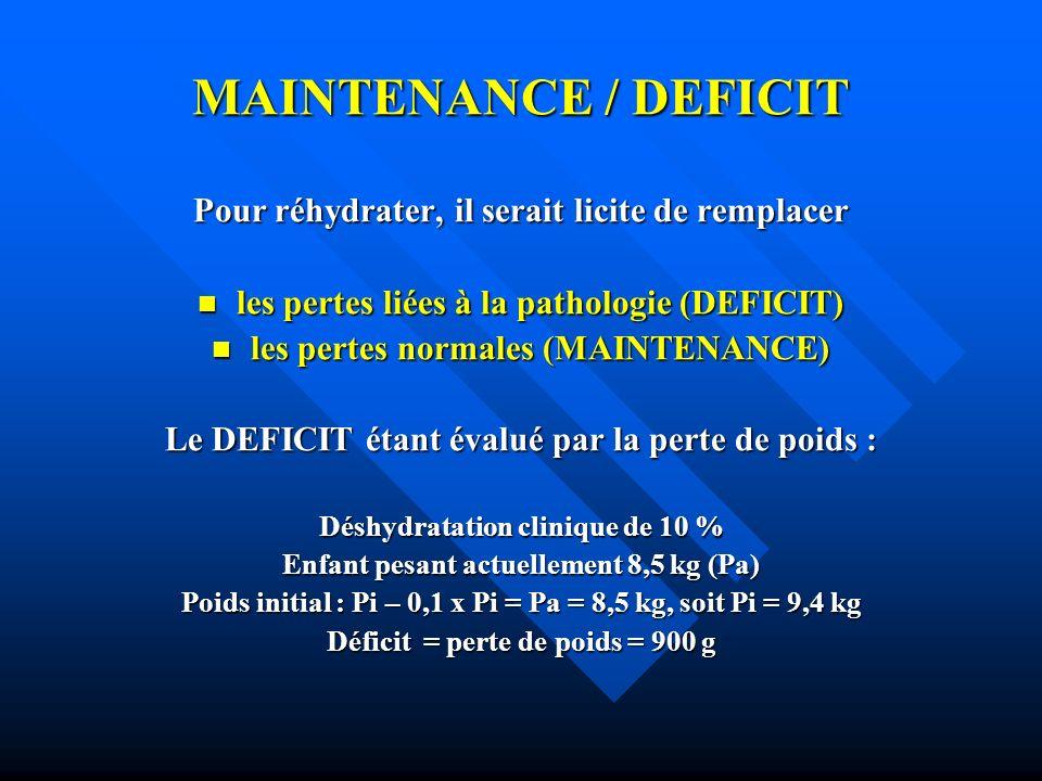 MAINTENANCE / DEFICIT Pour réhydrater, il serait licite de remplacer
