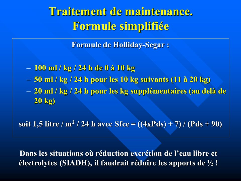 Traitement de maintenance. Formule simplifiée