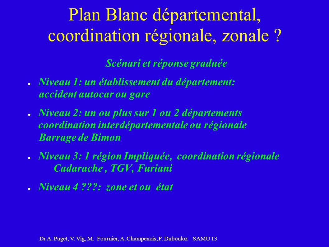 Plan Blanc départemental, coordination régionale, zonale