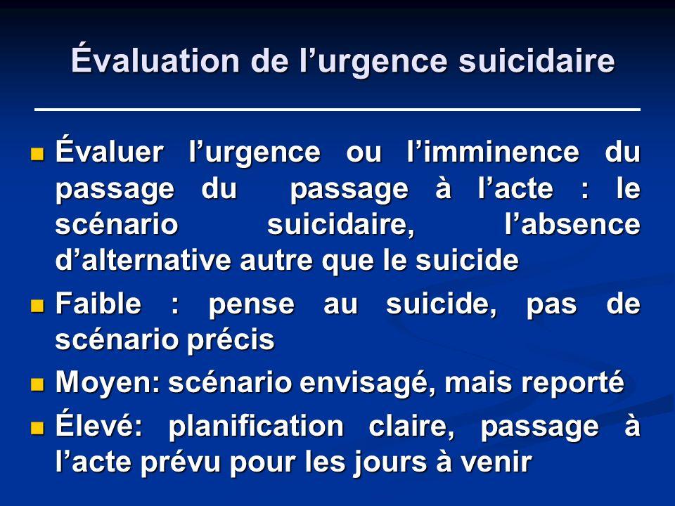 Évaluation de l'urgence suicidaire