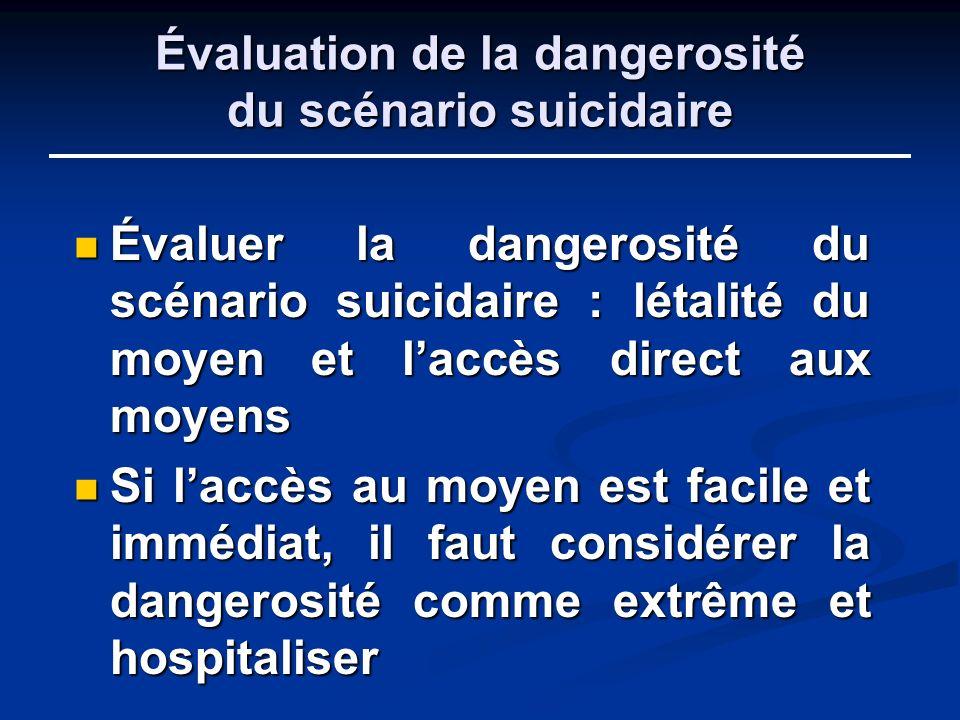 Évaluation de la dangerosité du scénario suicidaire
