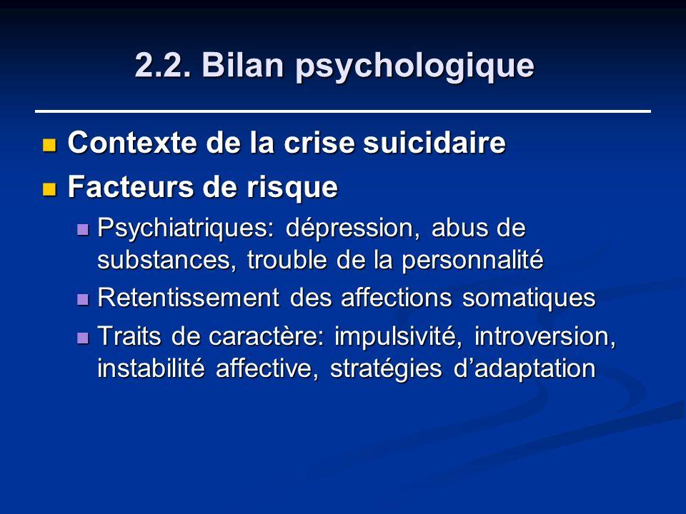 2.2. Bilan psychologique Contexte de la crise suicidaire