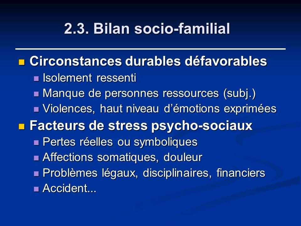 2.3. Bilan socio-familial Circonstances durables défavorables