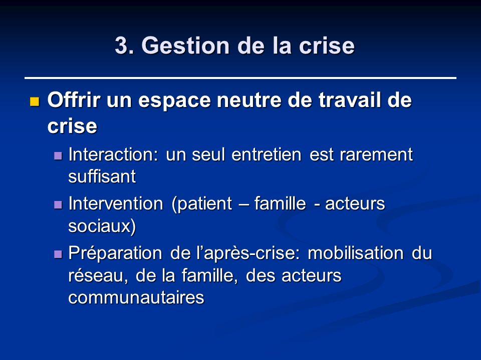 3. Gestion de la crise Offrir un espace neutre de travail de crise