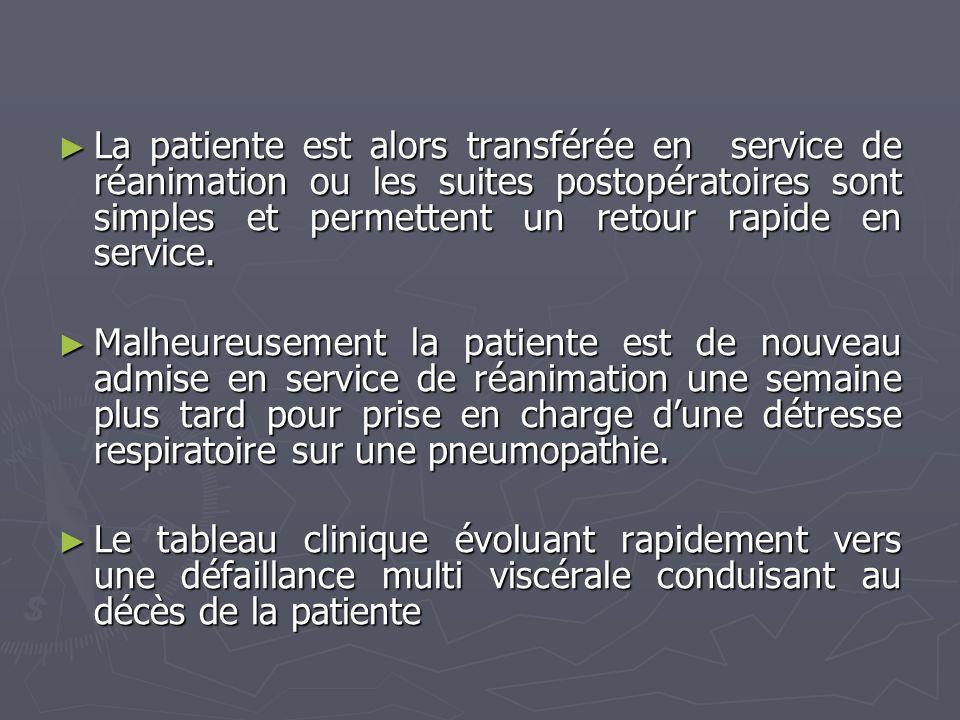 La patiente est alors transférée en service de réanimation ou les suites postopératoires sont simples et permettent un retour rapide en service.