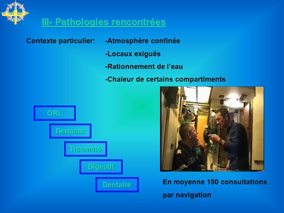III- Pathologies rencontrées