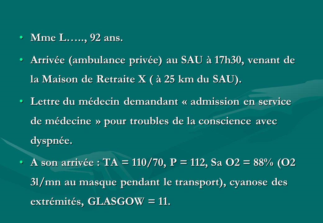 Mme L….., 92 ans.Arrivée (ambulance privée) au SAU à 17h30, venant de la Maison de Retraite X ( à 25 km du SAU).