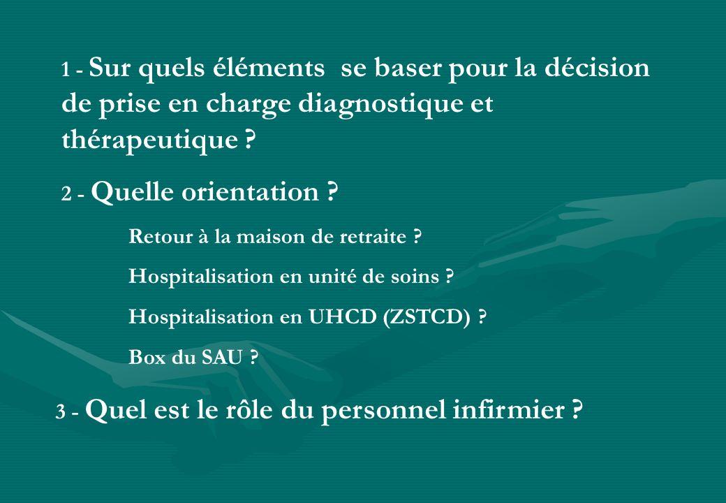 1 - Sur quels éléments se baser pour la décision de prise en charge diagnostique et thérapeutique