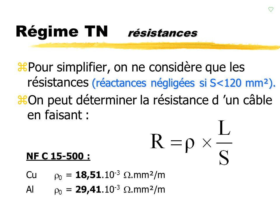 Régime TN résistances Pour simplifier, on ne considère que les résistances (réactances négligées si S<120 mm²).