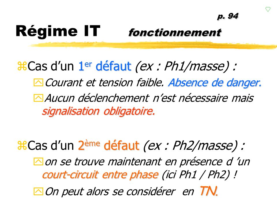 p. 94 Régime IT fonctionnement