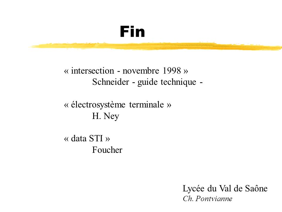 Fin « intersection - novembre 1998 » Schneider - guide technique -