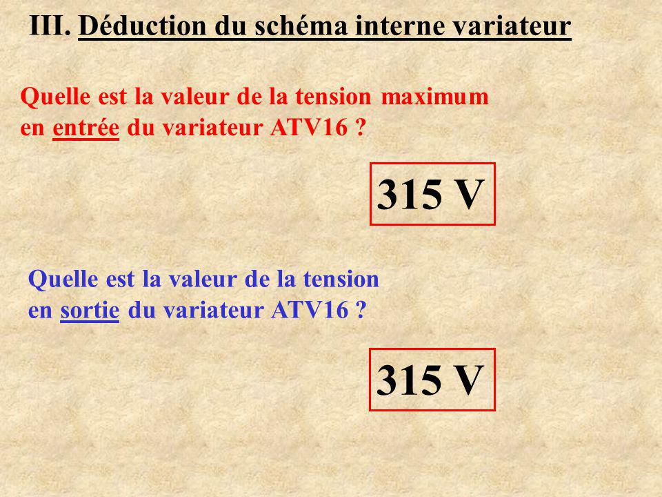 315 V 315 V III. Déduction du schéma interne variateur