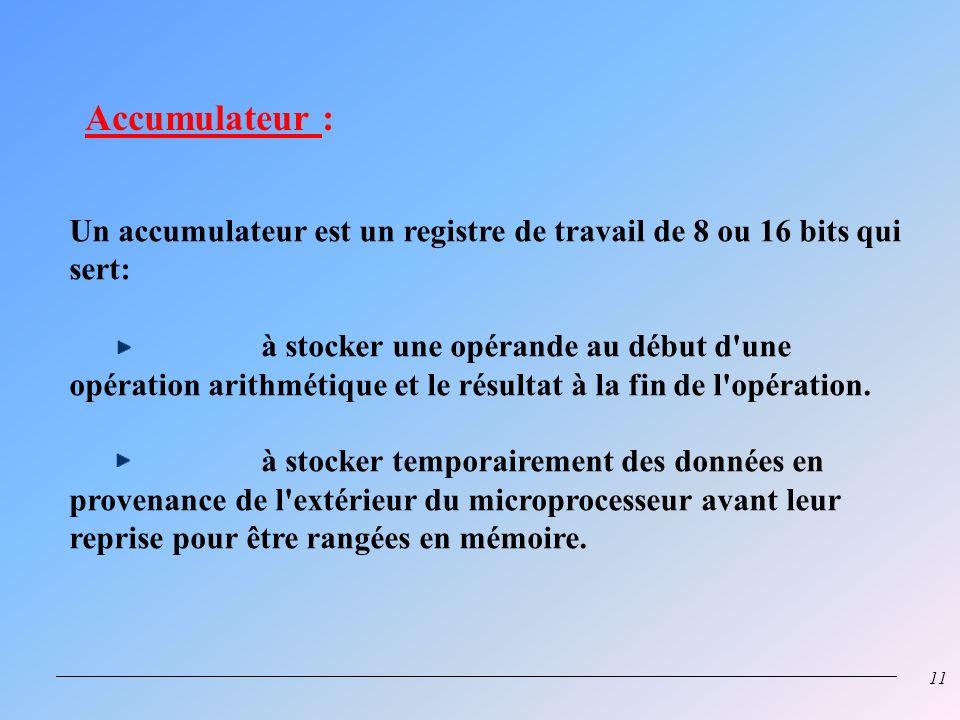 Accumulateur : Un accumulateur est un registre de travail de 8 ou 16 bits qui sert: