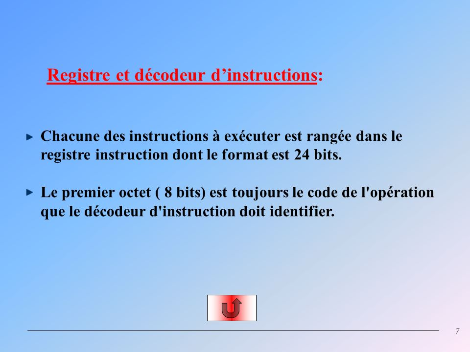 Registre et décodeur d'instructions: