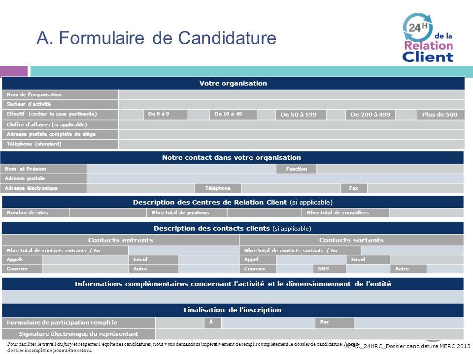 A. Formulaire de Candidature
