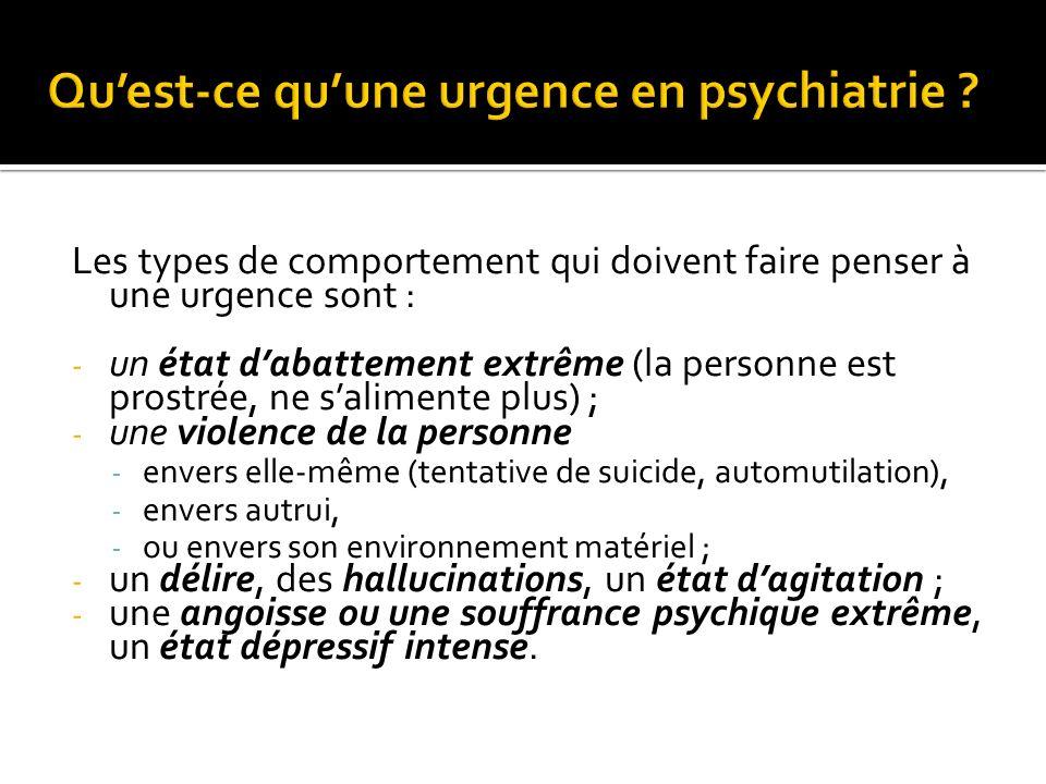 Qu'est-ce qu'une urgence en psychiatrie