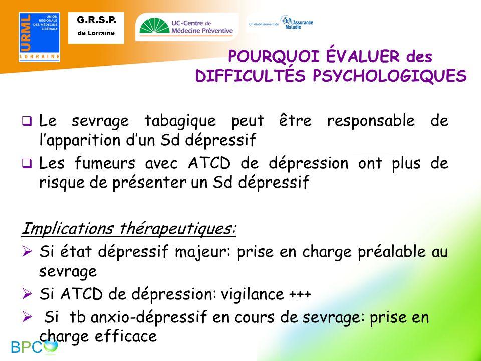POURQUOI ÉVALUER des DIFFICULTÉS PSYCHOLOGIQUES