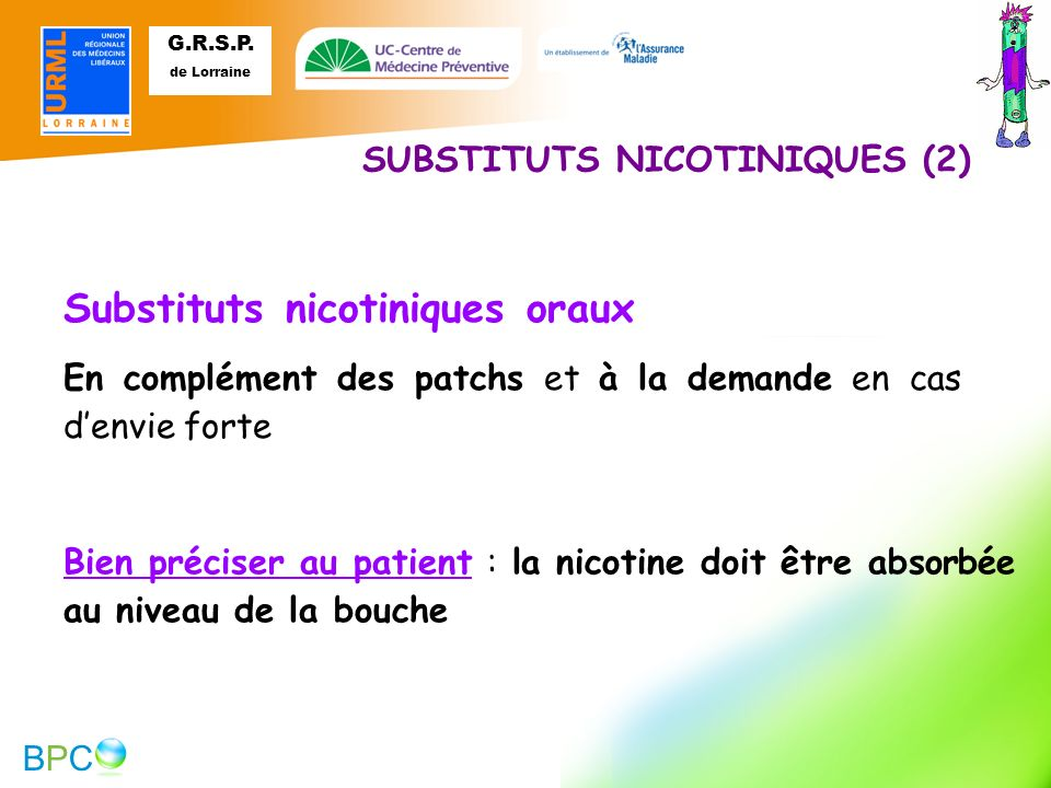 Substituts nicotiniques oraux
