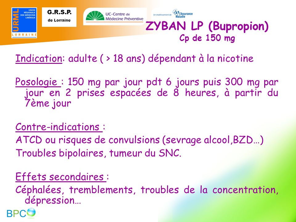 ZYBAN LP (Bupropion) Cp de 150 mg