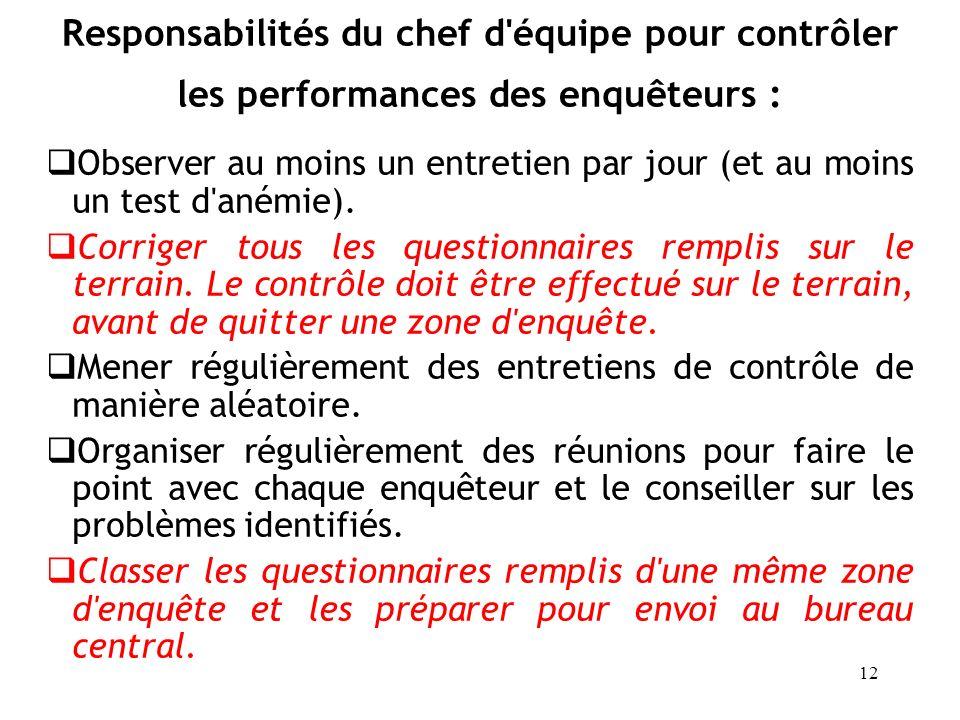 Responsabilités du chef d équipe pour contrôler les performances des enquêteurs :