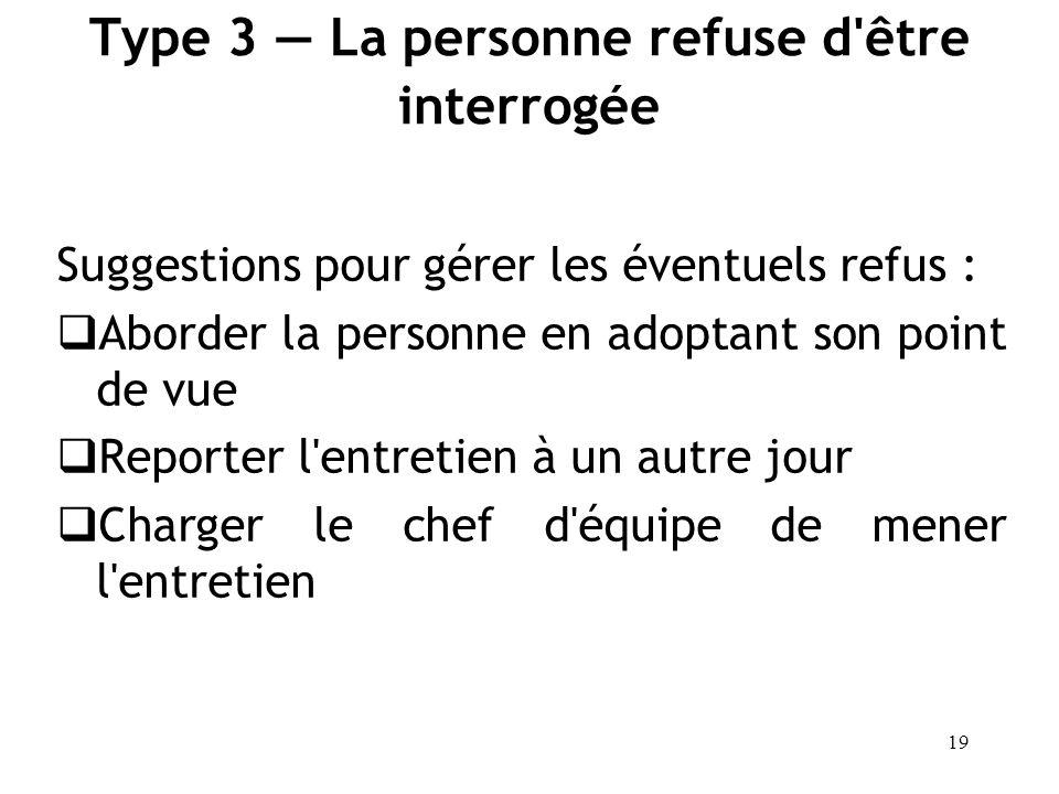 Type 3 — La personne refuse d être interrogée