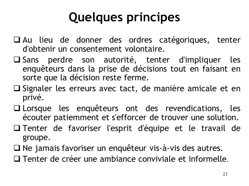 Quelques principes Au lieu de donner des ordres catégoriques, tenter d obtenir un consentement volontaire.