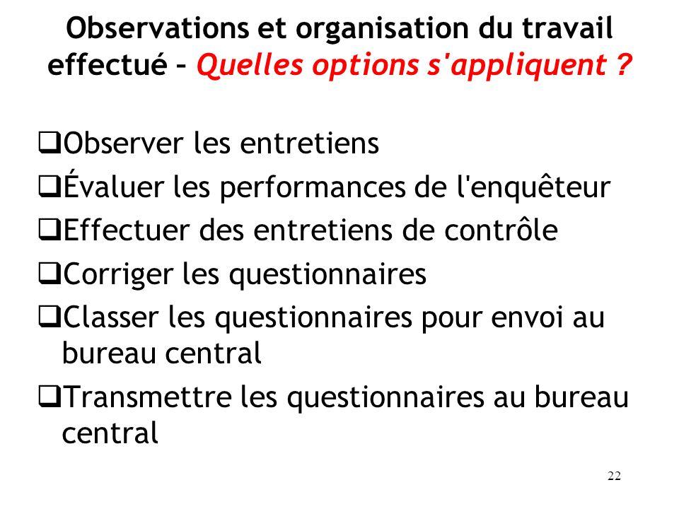 Observations et organisation du travail effectué – Quelles options s appliquent