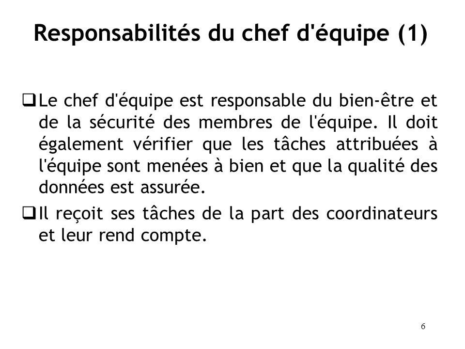 Responsabilités du chef d équipe (1)