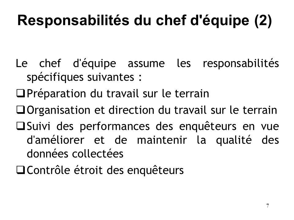 Responsabilités du chef d équipe (2)