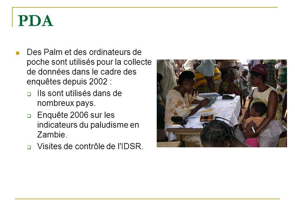 PDA Des Palm et des ordinateurs de poche sont utilisés pour la collecte de données dans le cadre des enquêtes depuis 2002 :