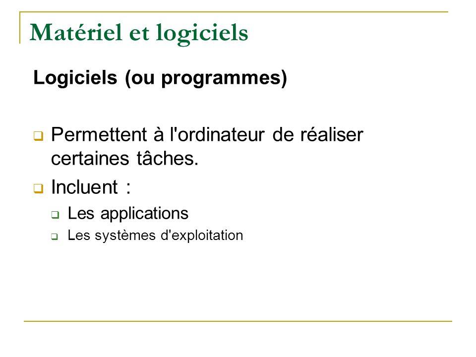 Matériel et logiciels Logiciels (ou programmes)