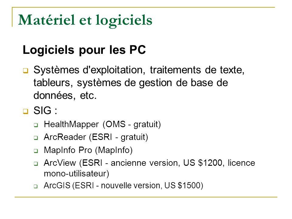Matériel et logiciels Logiciels pour les PC