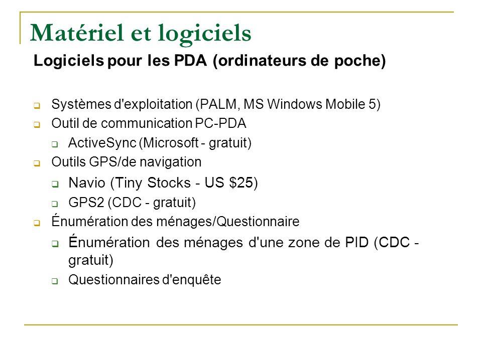 Matériel et logiciels Logiciels pour les PDA (ordinateurs de poche)