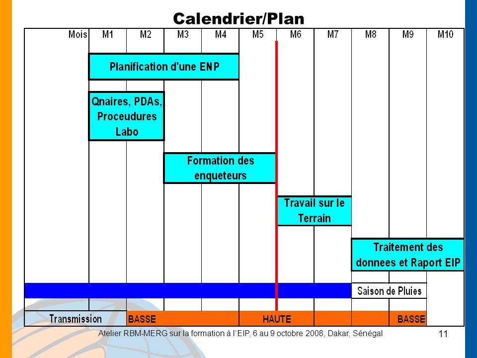 Calendrier/Plan Atelier RBM-MERG sur la formation à l'EIP, 6 au 9 octobre 2008, Dakar, Sénégal