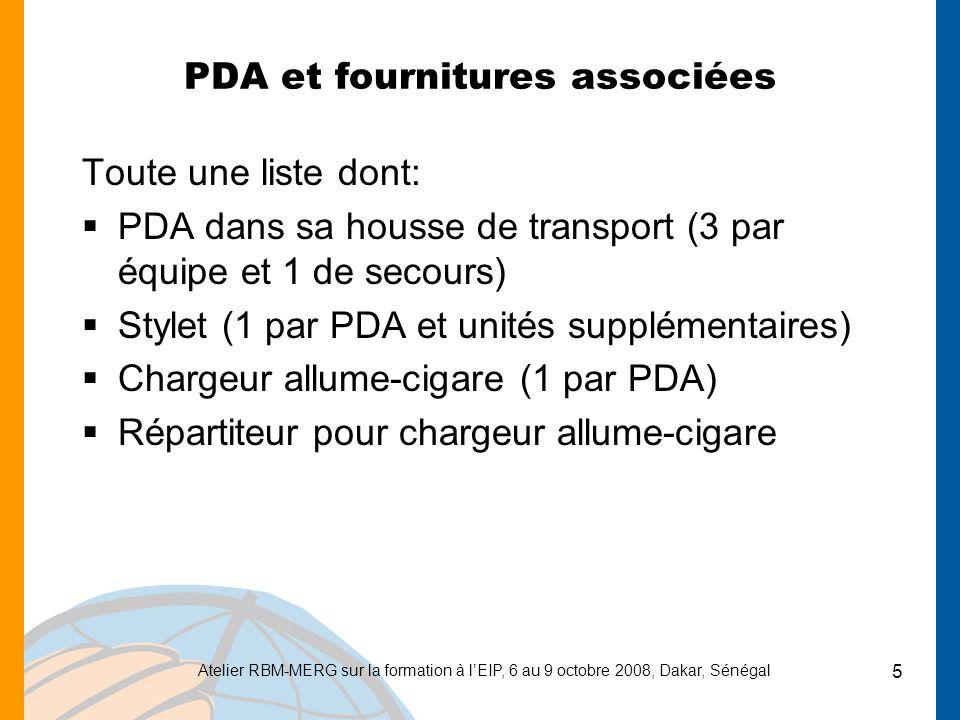 PDA et fournitures associées